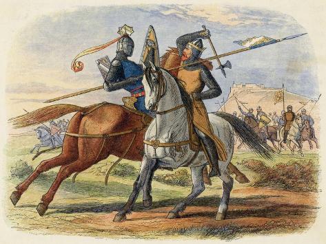 Before the Battle King Robert De Bruce VIII Kills Sir Henry De Bohun in Single Combat-James Doyle-Stretched Canvas Print