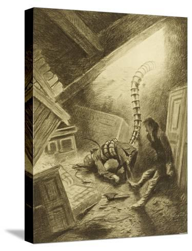 The War of the Worlds, a Martian Handling-Machine, Finds a Victim-Henrique Alvim Corr?a-Stretched Canvas Print