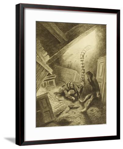 The War of the Worlds, a Martian Handling-Machine, Finds a Victim-Henrique Alvim Corr?a-Framed Art Print