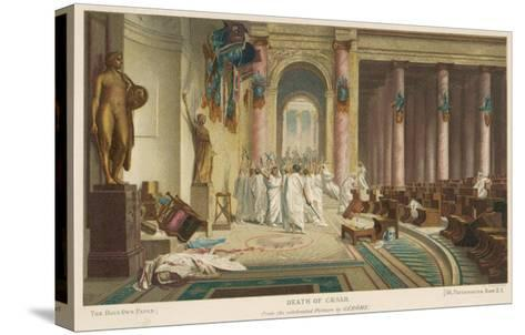 Julius Caesar is Assassinated in the Senate by Brutus and His Companions- Gerome-Stretched Canvas Print