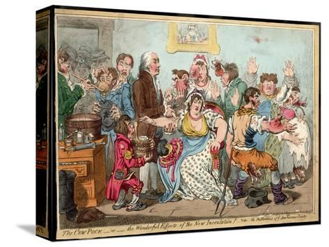 """The """"Cow Pock"""" or the Wonderful Effects of the New Inoculation, Satire on Jenner's Treatment-James Gillray-Stretched Canvas Print"""