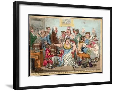 """The """"Cow Pock"""" or the Wonderful Effects of the New Inoculation, Satire on Jenner's Treatment-James Gillray-Framed Art Print"""