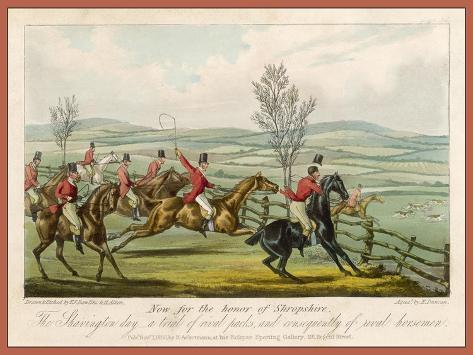 Shavington Day a Trial Between Rival Packs and Horsemen-Edward Duncan-Stretched Canvas Print