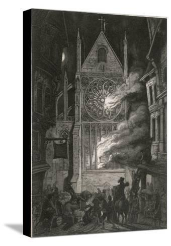 The Destruction of Old Saint Paul's Cathedral-J. Franklin-Stretched Canvas Print