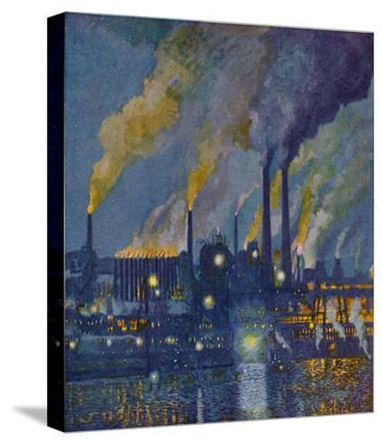 Munitions Factory at Night at the Beginning of World War One-Fritz Gartner-Stretched Canvas Print