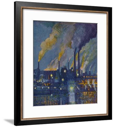 Munitions Factory at Night at the Beginning of World War One-Fritz Gartner-Framed Art Print