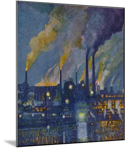 Munitions Factory at Night at the Beginning of World War One-Fritz Gartner-Mounted Giclee Print