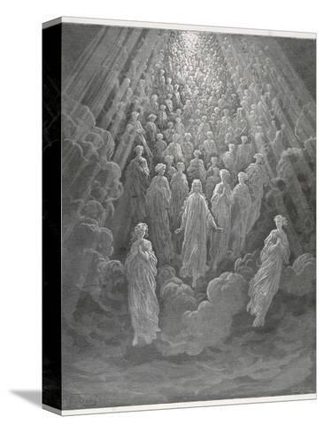 Huge Host of Angels Descend Through the Clouds in Paradise-Gustave Dor?-Stretched Canvas Print