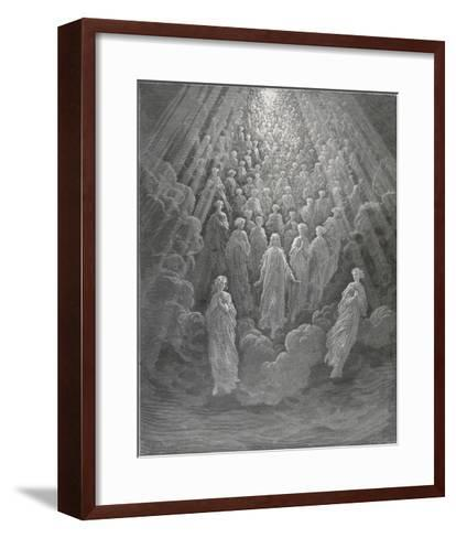 Huge Host of Angels Descend Through the Clouds in Paradise-Gustave Dor?-Framed Art Print