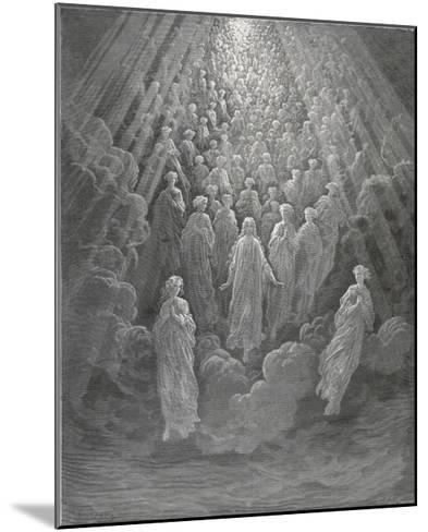 Huge Host of Angels Descend Through the Clouds in Paradise-Gustave Dor?-Mounted Giclee Print