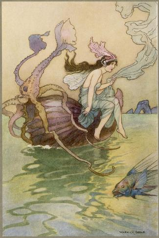 Fairy Riding a Nautilus-Warwick Goble-Stretched Canvas Print