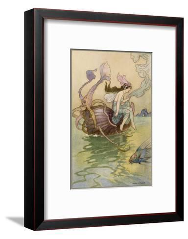 Fairy Riding a Nautilus-Warwick Goble-Framed Art Print