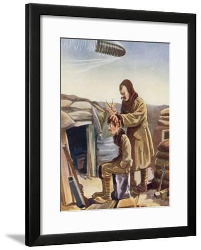 WWI Poster, Keep Yer 'Ead Still-Bruce Bairnsfather-Framed Art Print
