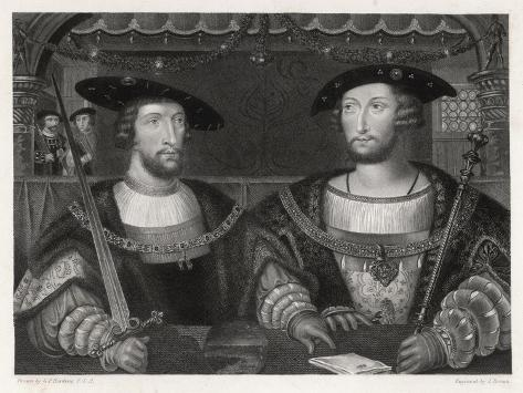 King Henry VIII with the Emperor Carl V as Young Men at the Field of the Cloth of Gold 1520-Robert Brown-Stretched Canvas Print