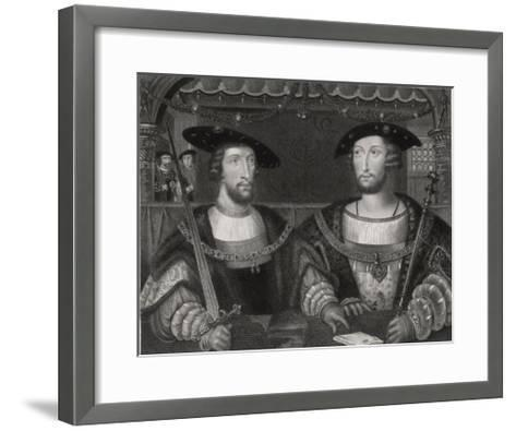 King Henry VIII with the Emperor Carl V as Young Men at the Field of the Cloth of Gold 1520-Robert Brown-Framed Art Print