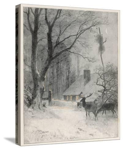 In the Cold Weather the Wild Deer Come Closer to the House-Carl Frederic Aagaard-Stretched Canvas Print
