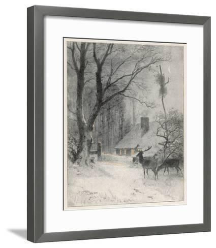 In the Cold Weather the Wild Deer Come Closer to the House-Carl Frederic Aagaard-Framed Art Print