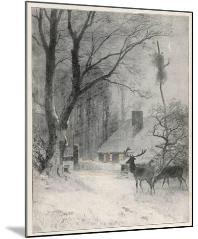 In the Cold Weather the Wild Deer Come Closer to the House-Carl Frederic Aagaard-Mounted Giclee Print