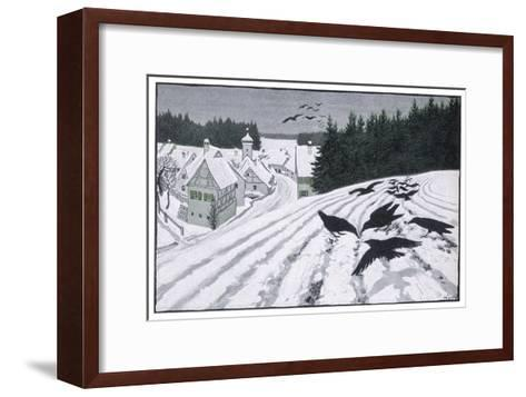 Crows Search for Food in the Snow in Fields on the Outskirts of a German Village-Walther Georgi-Framed Art Print