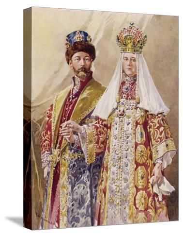 Nikolay Aleksandrovich Czar Nicolas II with Alexandra in Ancient Muscovite Dress-Frederic De Haenen-Stretched Canvas Print
