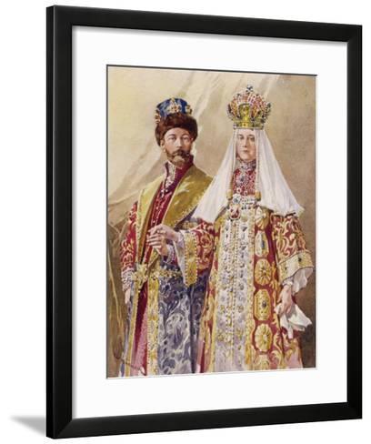Nikolay Aleksandrovich Czar Nicolas II with Alexandra in Ancient Muscovite Dress-Frederic De Haenen-Framed Art Print