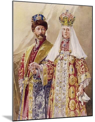 Nikolay Aleksandrovich Czar Nicolas II with Alexandra in Ancient Muscovite Dress-Frederic De Haenen-Mounted Giclee Print