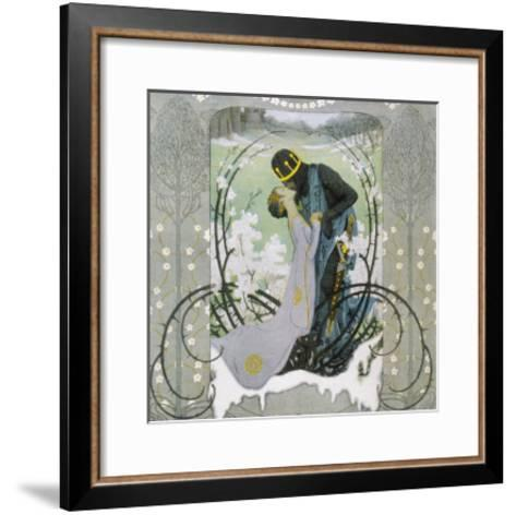 The Prince Wakes Sleeping Beauty from Her Sleep with a Kiss-Heinrich Lefler-Framed Art Print