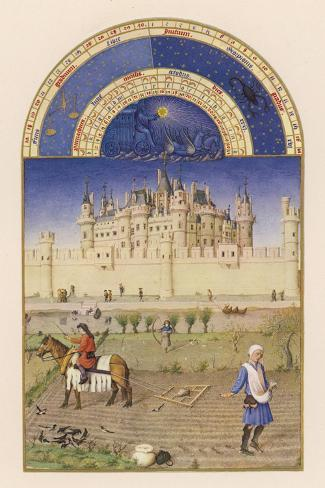 October Peasants Sow Next Year's Crops Within Sight of the Palais Du Louvre Paris-Pol De Limbourg-Stretched Canvas Print