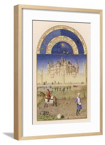October Peasants Sow Next Year's Crops Within Sight of the Palais Du Louvre Paris-Pol De Limbourg-Framed Art Print