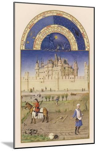 October Peasants Sow Next Year's Crops Within Sight of the Palais Du Louvre Paris-Pol De Limbourg-Mounted Giclee Print