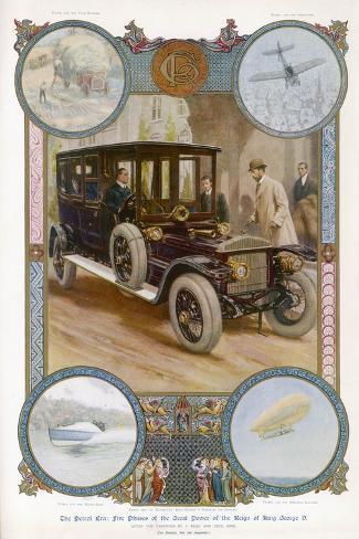 George V Enters the Royal Daimler-Samuel Begg-Stretched Canvas Print