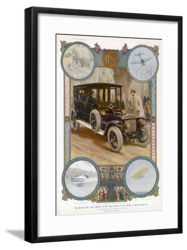 George V Enters the Royal Daimler-Samuel Begg-Framed Art Print