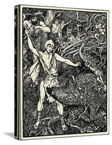 Young Odysseus Fights a Wild Boar and Gets the Wound in His Thigh-Henry Justice Ford-Stretched Canvas Print