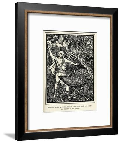 Young Odysseus Fights a Wild Boar and Gets the Wound in His Thigh-Henry Justice Ford-Framed Art Print