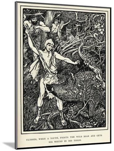Young Odysseus Fights a Wild Boar and Gets the Wound in His Thigh-Henry Justice Ford-Mounted Giclee Print
