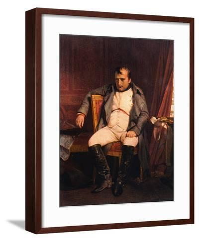 Napoleon Emperor Defeated at Fontainebleau 1814-Paul Hippolyte Delaroche-Framed Art Print