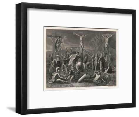 Mary Watches Soldiers Play Dice Jesus and His Companions Slowly Die- Egleton-Framed Art Print