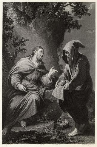 Jesus is Tempted by Satan in the Wilderness, Command This Stone That It be Made Bread-Francis Holl-Stretched Canvas Print