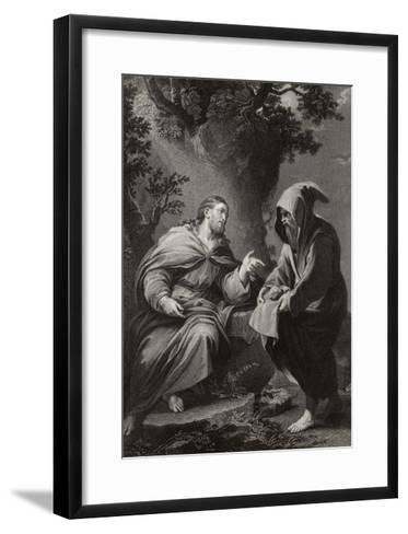 Jesus is Tempted by Satan in the Wilderness, Command This Stone That It be Made Bread-Francis Holl-Framed Art Print