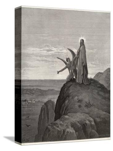 Jesus is Tempted by Satan in the Wilderness-Gustave Dor?-Stretched Canvas Print