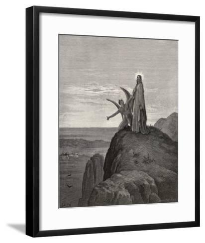 Jesus is Tempted by Satan in the Wilderness-Gustave Dor?-Framed Art Print