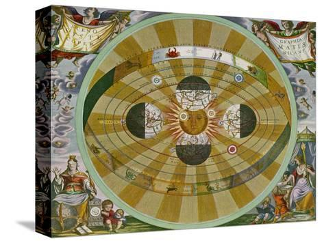 Representation of His System Showing Earth Circling the Sun-Andreas Cellarius-Stretched Canvas Print
