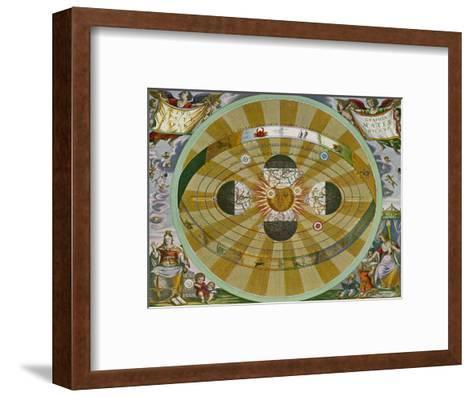 Representation of His System Showing Earth Circling the Sun-Andreas Cellarius-Framed Art Print