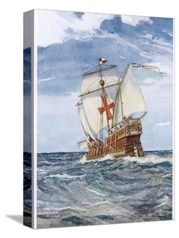 Columbuss Caravel Formerly the Marigalante-C^p^ Carruthers-Stretched Canvas Print