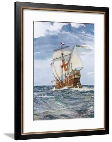 Columbuss Caravel Formerly the Marigalante-C^p^ Carruthers-Framed Art Print