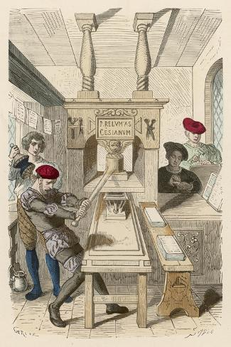 French Printing Press of the 15th Century- Gerlier-Stretched Canvas Print