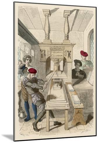 French Printing Press of the 15th Century- Gerlier-Mounted Giclee Print