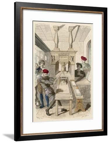 French Printing Press of the 15th Century- Gerlier-Framed Art Print