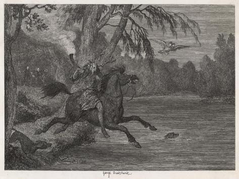 Herne the Hunter Herne the Hunter Plunges into the Lake-George Cruikshank-Stretched Canvas Print