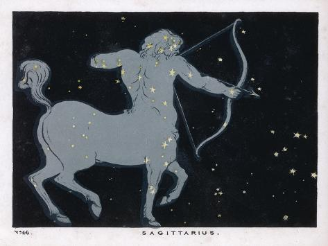The Constellation of Sagittarius Half Man and Half Horse with a Bow and Arrow-Charles F^ Bunt-Stretched Canvas Print